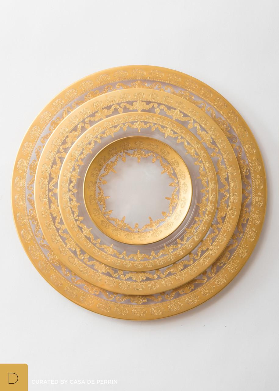 Prato Versailles, vidro gravado (ouro, 24K), feito à mão em Itália, aprox. 160€, Casa de Perrin