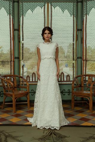 Vestido de noiva Kiaria, em renda bordada a algodão, 2.645€, por Pureza Mello Breyner Atelier,  purezamellobreyner.com