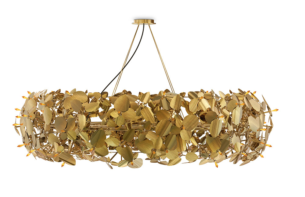 Candeeiro de teto da coleção McQueen, para a Luxxu, sob consulta, em latão e cristais Swarovski , www.luxxu.net