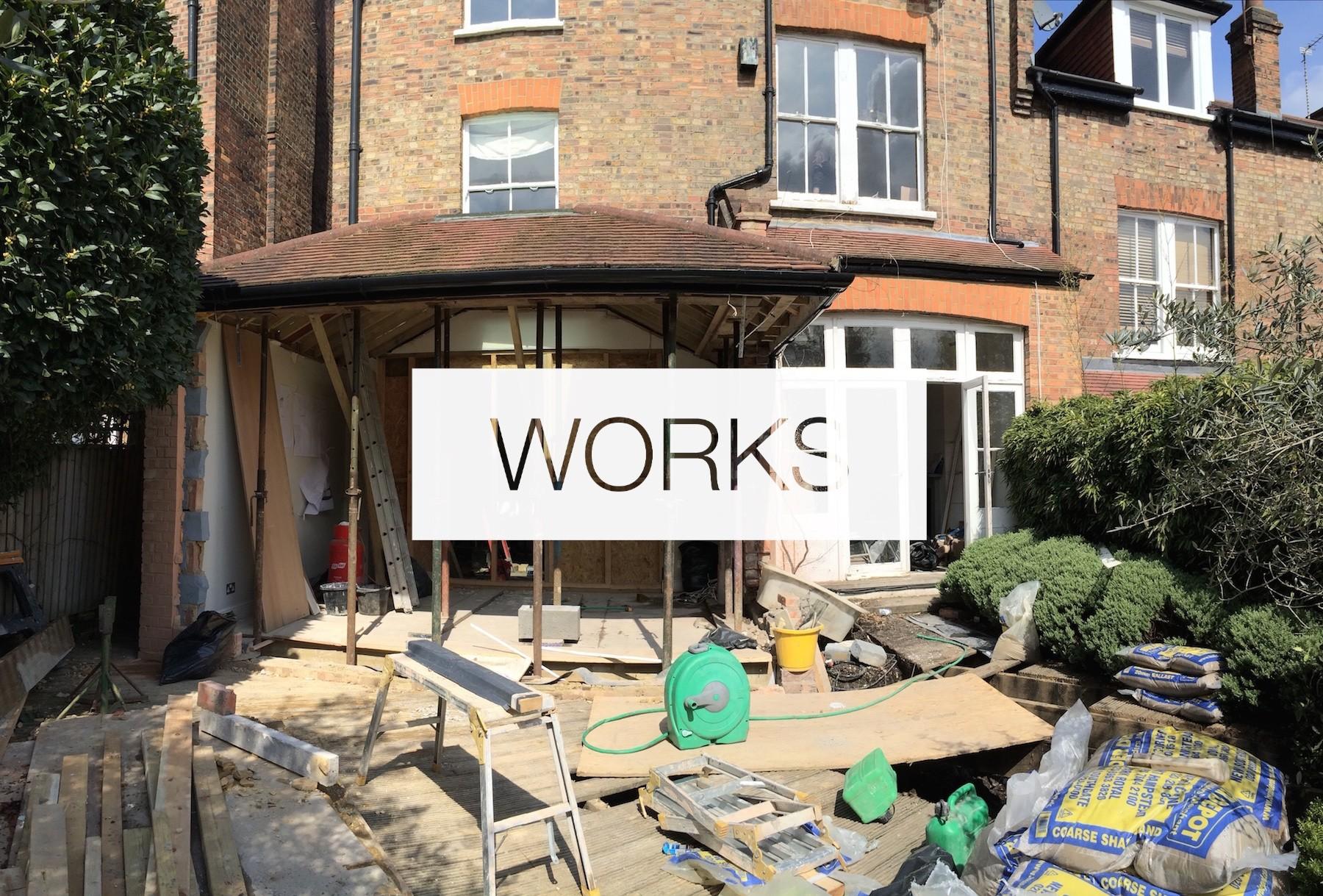 Obras, traseiras da casa