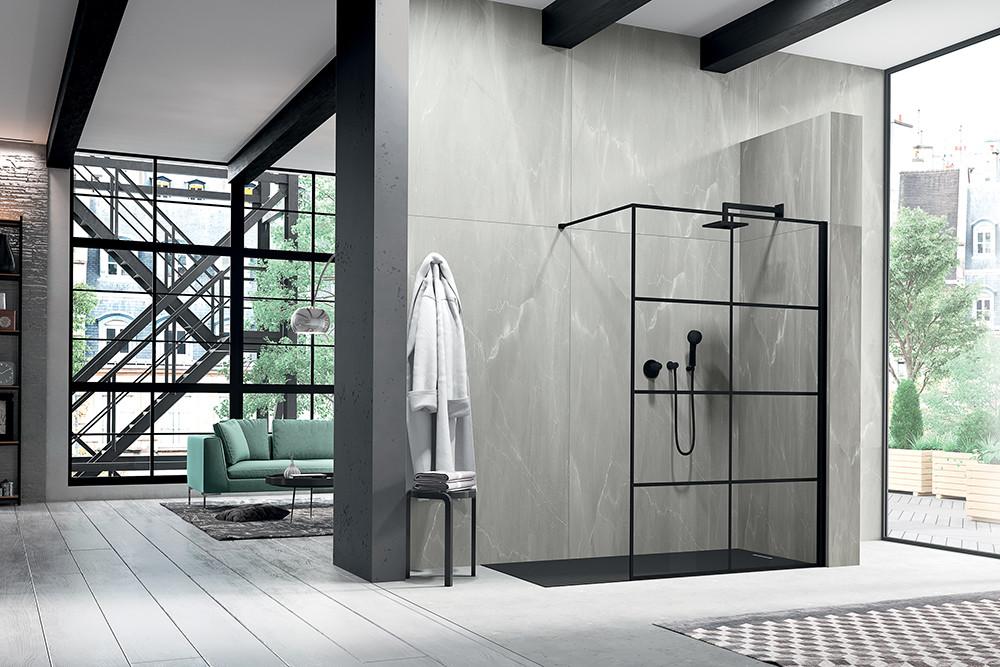 Da Duka, ambiente Liber 3000, estilo industrial visto pela primeira vez em setembro de 2018 na Cersaie, acabamentos de madeira, aço, tijolo à vista, cimento. duka.it