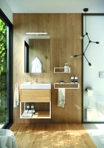 Da Cosmic, linha The Grid, aço inox e madeira, dsign de Ricard Ferrer, em lojadobanho.pt