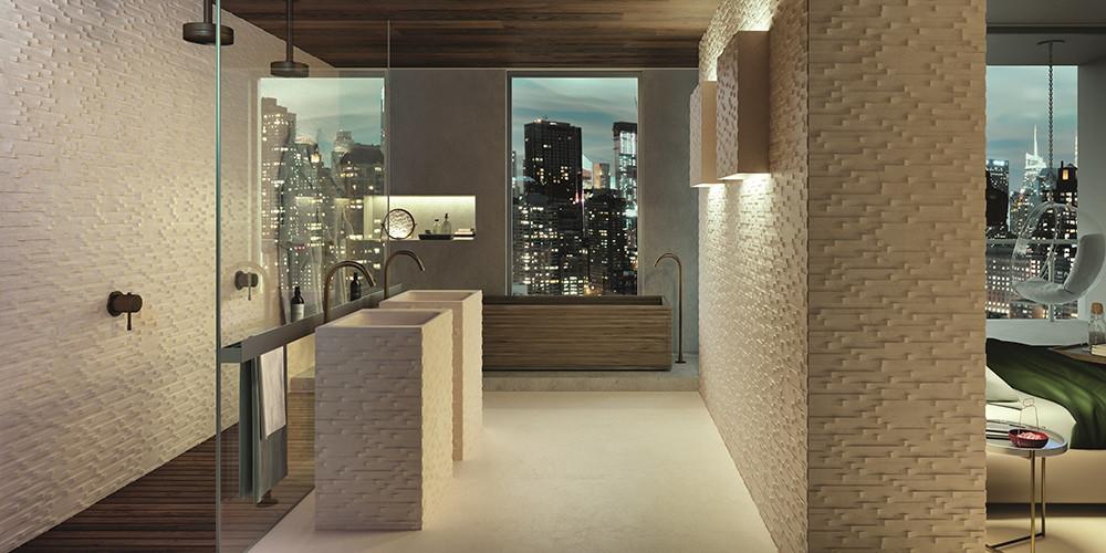 Lithos Design, ambiente Aquae Strato Teti, com design de Raffaello Galiotto, lavatório suspenso e revestimento efeito 3, no mesmo mármore, 60 x 45 x 85 cm, em lithosdesign.com
