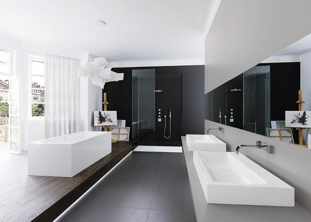 Ambiente com lavatórios Cono, da Kaldewei, com 120 cm de largura, em kaldewei.us